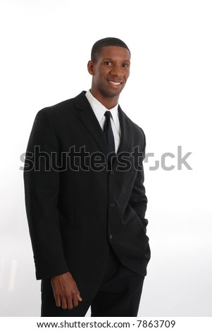 Smiling man on black suit