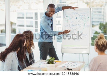 Smiling man showing flowchart on white board while discussing with coworkers - stock photo