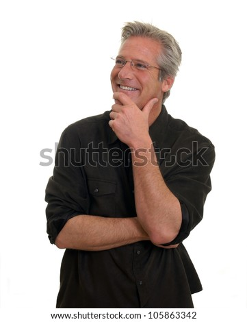 Smiling Man with hand on chin