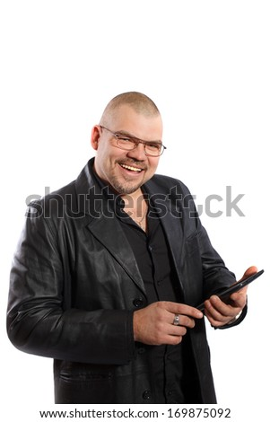 smiling man with Tablet PC on a white background