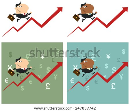 Smiling Manager Running Up A Success Arrow. Flat Style Raster Collection Set - stock photo