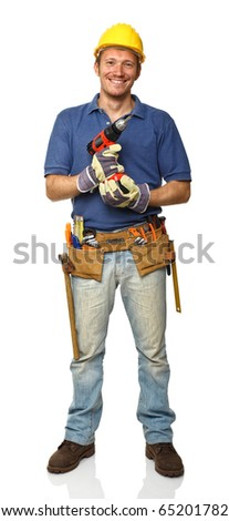 smiling manual worker isolated on white fine portrait - stock photo