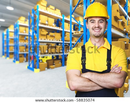 smiling manual worker isolated warehouse 3d  background - stock photo
