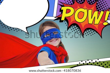 Smiling masked girl pretending to be superhero against the word pow - stock photo