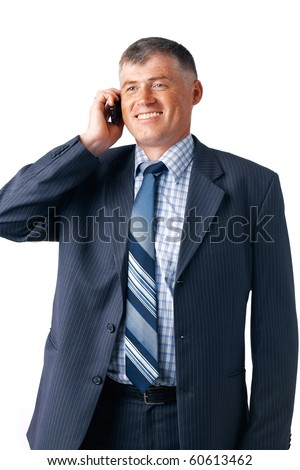 Smiling mature businessman speaking on the phone on the white background.
