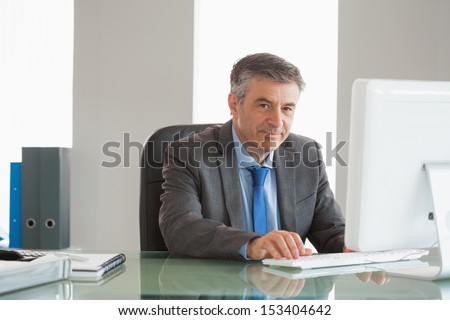 Smiling mature businessman using computer at office - stock photo