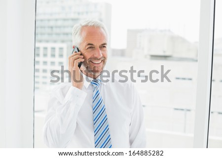 Smiling mature businessman using mobile phone in a bright office