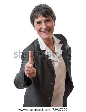 smiling mature businesswoman pointing camera isolated on white background - stock photo