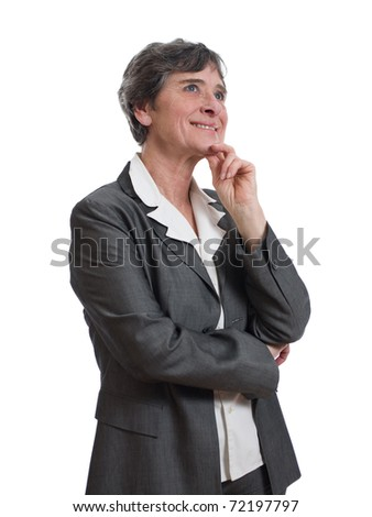 smiling mature businesswoman thinking isolated on white background - stock photo