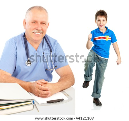 Smiling medical doctor and a boy. Isolated over white background - stock photo