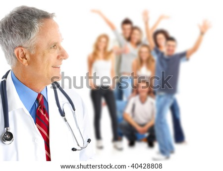 Smiling  medical doctor and young people. Over white background - stock photo