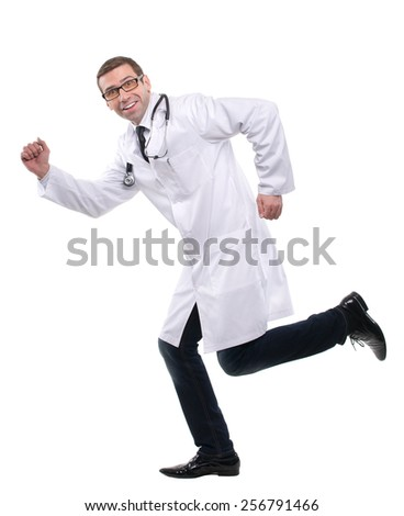 Smiling medical doctor running to his patients. Isolated over white background