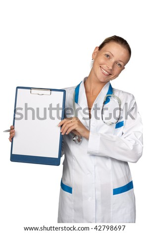 Smiling medical doctor with stethoscope and clipboard on a  white background. Medical concept.