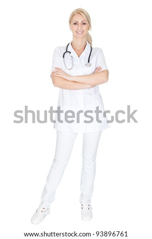 Smiling medical doctor woman with stethoscope. Isolated on white
