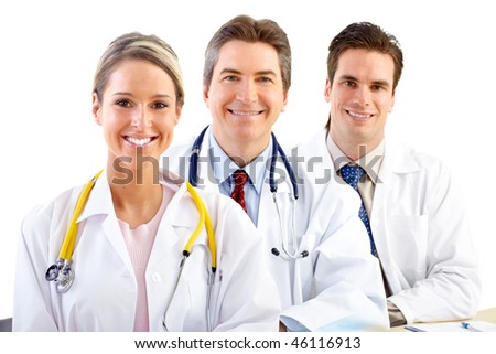 Smiling medical doctors people with stethoscopes. Isolated over white background - stock photo