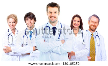 Smiling medical doctors with stethoscopes - stock photo