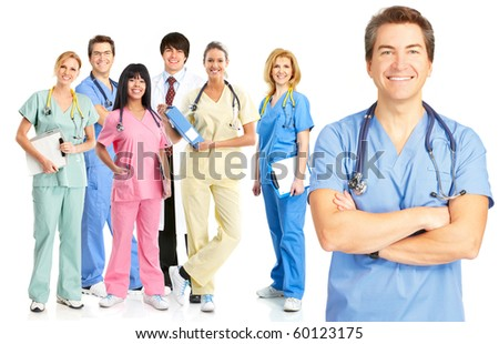 Smiling medical doctors with stethoscopes. Isolated over white background - stock photo