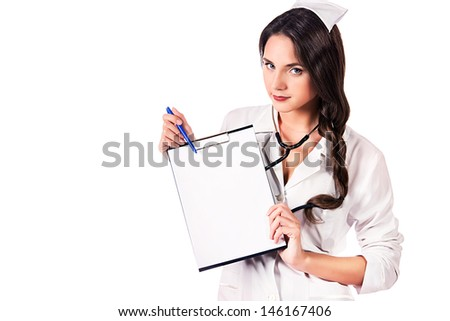 Smiling medical employee showing medical report. Isolated over white. - stock photo