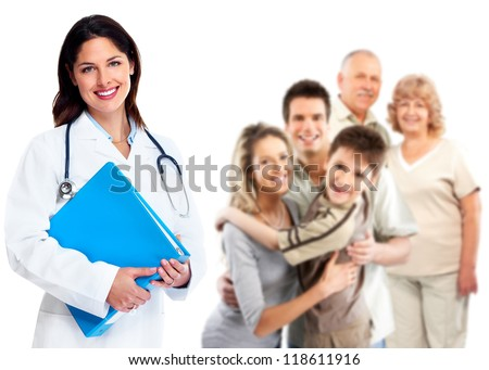 Smiling medical family doctor woman. Health care background. - stock photo