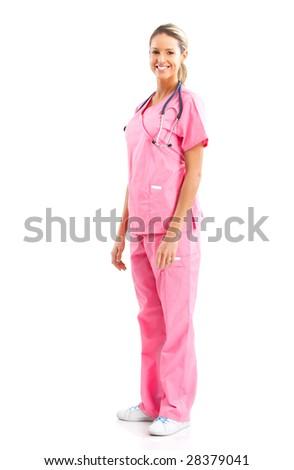 Smiling medical nurse with stethoscope. Isolated over white background - stock photo