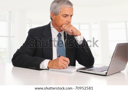 Smiling Middle Aged Businessman at desk using laptop computer with concerned expression in modern office. - stock photo