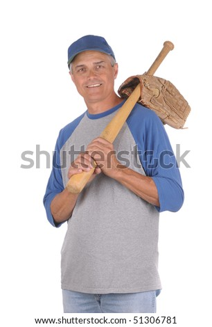Smiling middle aged man ready to play baseball. Man is holding a wood baseball bat over his shoulder with the handle through glove opening. 3/4 view of man shot in Vertical format isolated over white. - stock photo