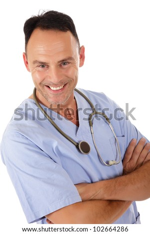 Smiling Middle aged successful caucasian man doctor. Studio shot. White background - stock photo