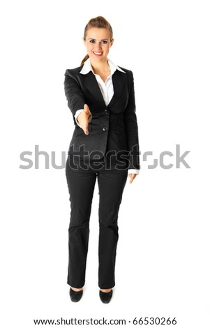 Smiling modern business woman stretches out hand for handshake isolated on white