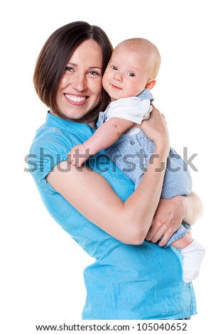 smiling mother holding her baby. isolated on white background - stock photo