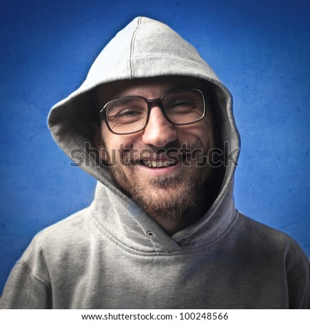 Smiling nerd - stock photo