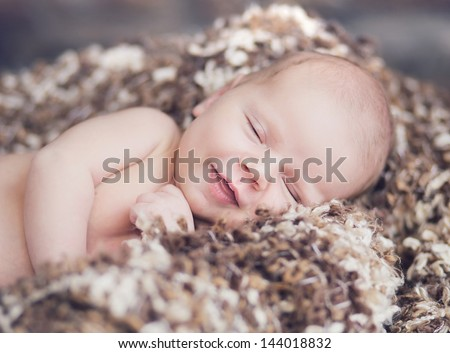 smiling new born baby - stock photo
