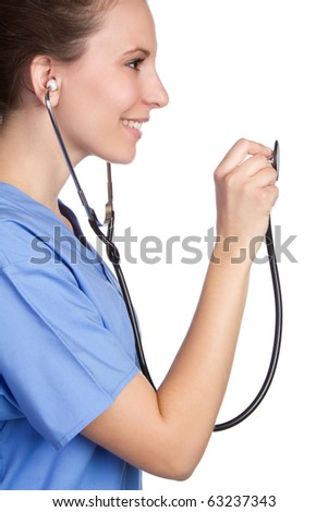 Smiling nurse holding stethoscope - stock photo
