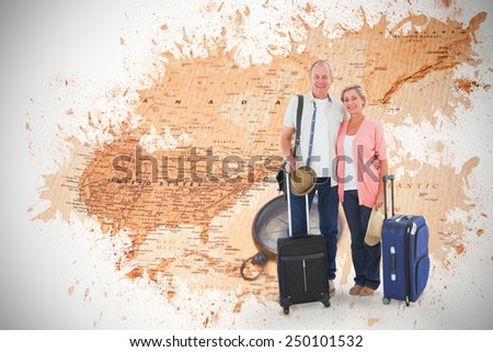 Smiling older couple going on their holidays against world map with compass showing north america - stock photo