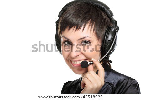 Smiling operator woman in a Call center. isolated on white background - stock photo