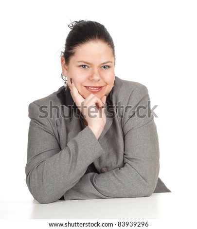 smiling overweight, fat businesswoman in grey suit, series