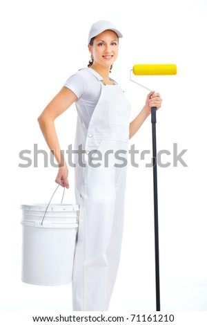 Smiling painter woman in white suit. Isolated over white background