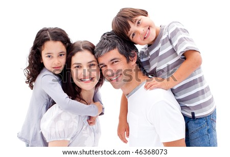 Smiling parents giving their children a piggyback ride against a white background - stock photo