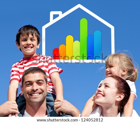Smiling parents giving their children piggyback ride with energy efficient house illustration - stock photo
