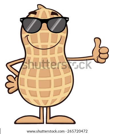 Smiling Peanut Cartoon Character With Sunglasses Giving A Thumb Up. Raster Illustration Isolated On White - stock photo