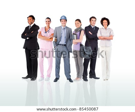 Smiling people posing against a white background - stock photo