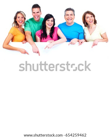 Smiling people with broadsheet