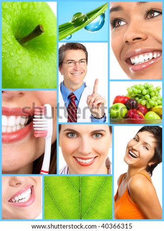 Smiling people with healthy teeth. Close up - stock photo