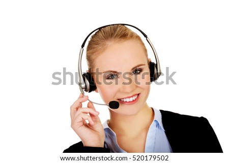 Smiling phone operator in headphones