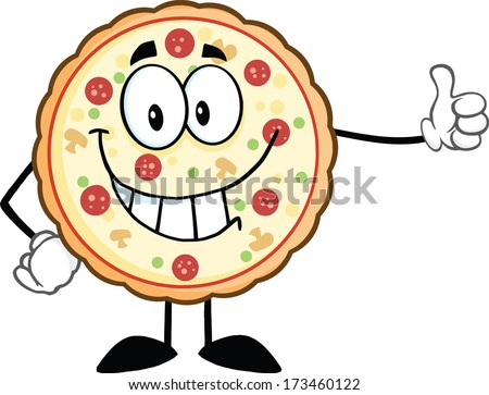 Smiling Pizza Cartoon Mascot Character Giving A Thumb Up. Raster Illustration Isolated on white - stock photo