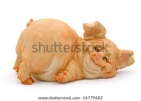 Smiling porcelain pig in prone position piggy bank over white - stock photo