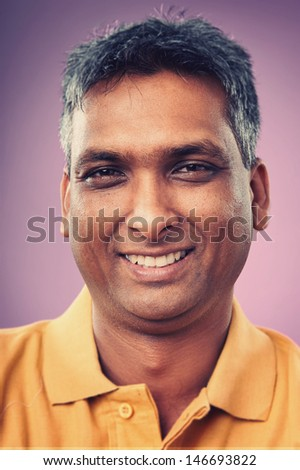 Smiling portrait face of real man with retro colour and high detail