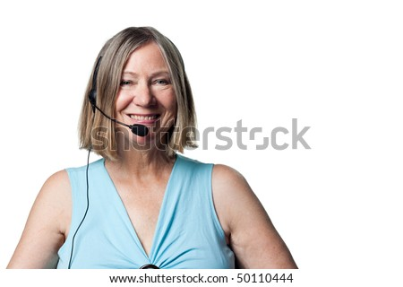 Smiling portrait of a telephone worker, happy and content - stock photo