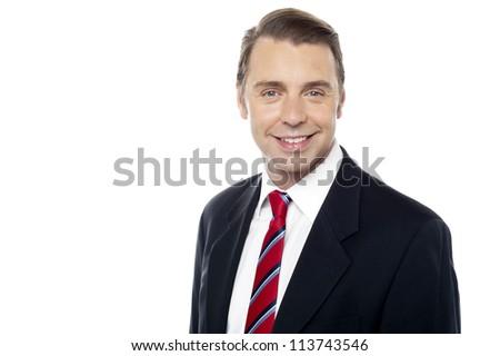 Smiling portrait of successful business enterprise. Closeup shot - stock photo