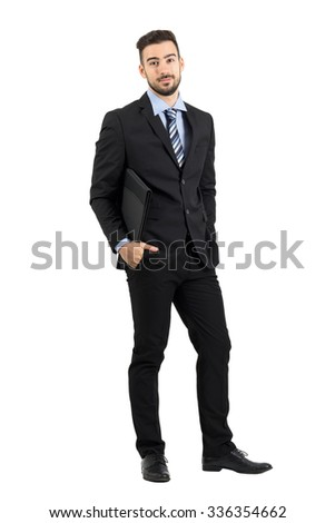 Smiling positive young bearded businessman with document folder.  Full body length portrait isolated over white studio background.