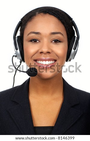 Smiling pretty business woman with headset. - stock photo